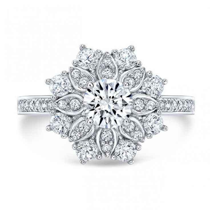 Vintage Inspired Cluster Halo Diamond Engagement Ring