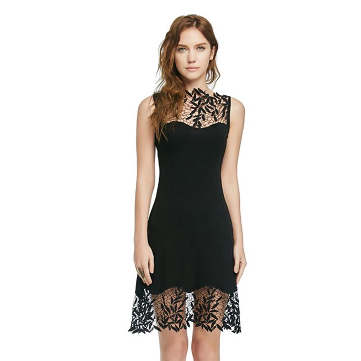 New Bodycon Flower Lace Dress Sleeveless o-neck Black Sexy Slim Dress Vestido Short Evening Women Dress Clothing Plus Size