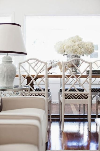 I wouldn't be able to resist adding a Viridian green accent here, but wow these Chinese Chippendale Chairs!