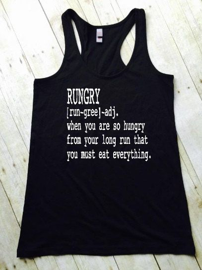 RUNGRY Running Tank Top. Run + Hungry = RUNGRY! Black Racerback Tank Top. Writing in White. Available in S, M, L, XL, XXL,3XL, 4XL (Measurements in