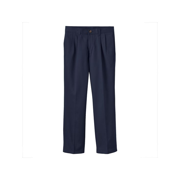 Boys 8-20 Chaps School Uniform Pleated Twill Pants, Boy's, Size: 14 Slim, Blue (Navy)