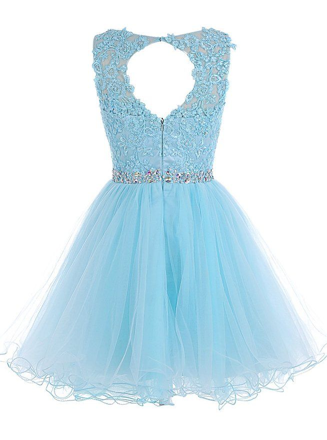Tulle Homecoming Dress,Lace Homecoming Dress,Blue Homecoming Dress,Fitted Homecoming Dress,Short Prom Dress,H001 - Thumbnail 1