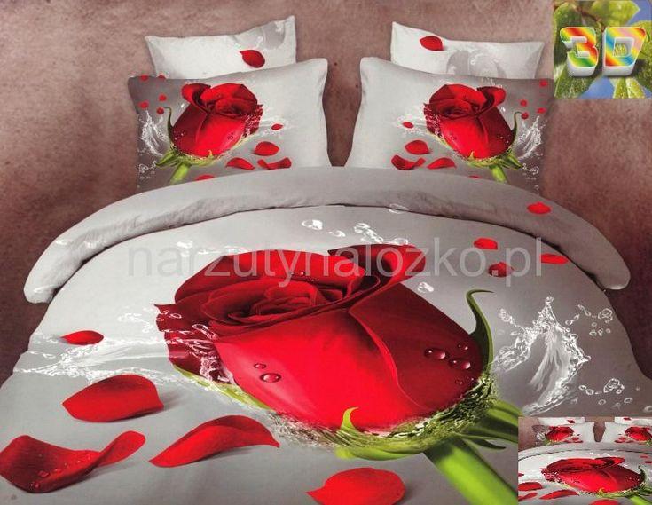 3D pościel szara na łóżko z czerwoną różą