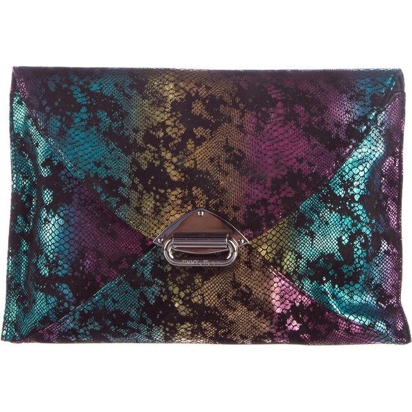 Pre-owned Jimmy Choo Metallic Envelope Clutch ($275) ❤ liked on Polyvore featuring bags, handbags, clutches, metallic, purple handbags, jimmy choo handbags, colorful clutches, metallic clutches and jimmy choo clutches