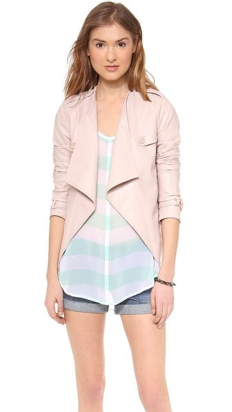 BB Dakota Cressida Jacket. Draped lapels frame the open placket of this cropped, faux-leather BB Dakota jacket.