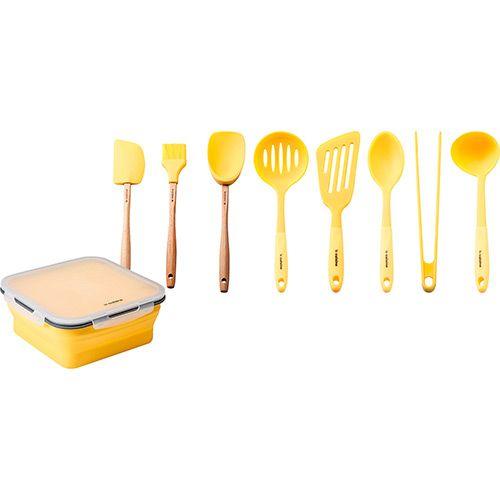 Conjunto utens lios de silicone 8 pe as pote de silicone for Attrezzi da cucina in silicone