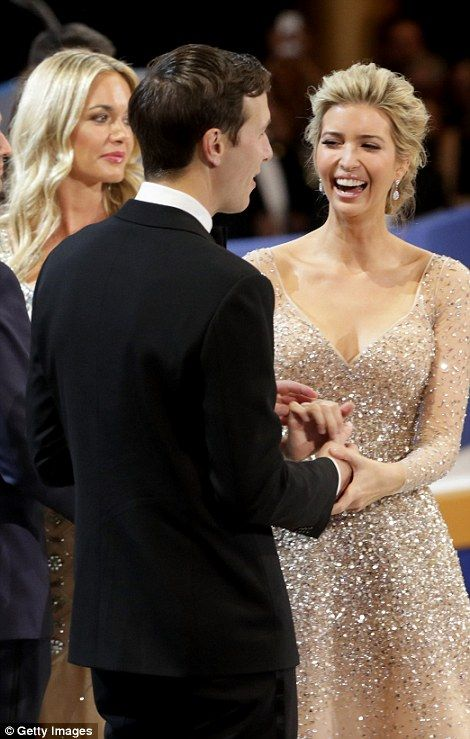Ivanka Trump shares a joke with her husband at the third inaugural event (left). The 35-year-old and her siblings joined their father on stage at each of the balls