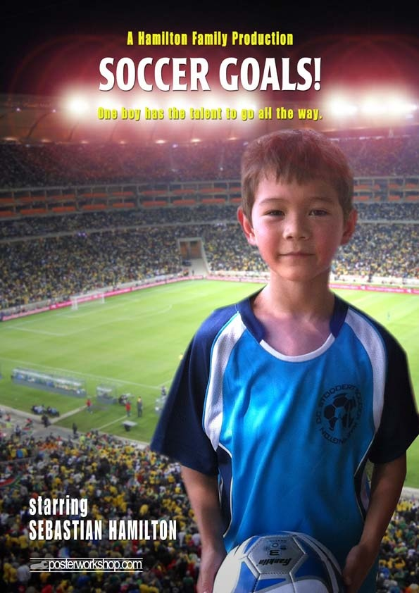 SOCCER KIDS MOVIE POSTER GIFTS  From $45.00  Every boy dreams of soccer glory but only one boy will make that dream come true. Star in this Soccer Movie Poster and hear the roar of the crowd as you go for the winning goal.  Photo Tip: This poster works best if you're wearing your favourite Soccer outfit and holding your Soccer ball.  Show us the excitement when your dream of becoming a professional football star comes true!