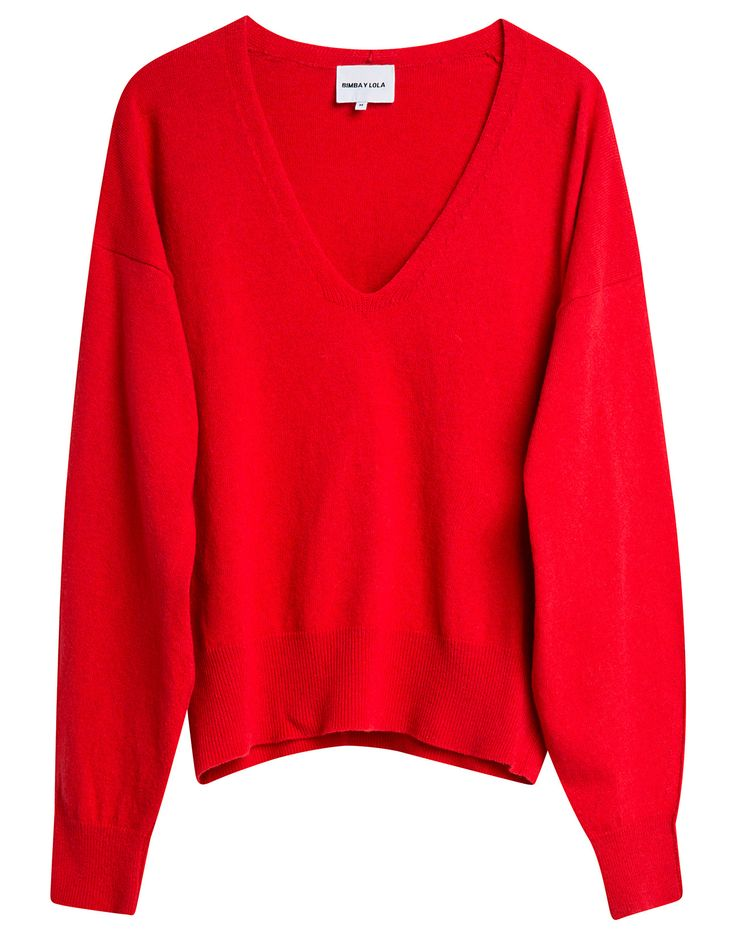 BIMBA Y LOLA low-cut red-coloured jumper. Straight-cut model with V-neck and rounded long sleeves.  Detail  Standard fit V-neck Long, rounded sleeves