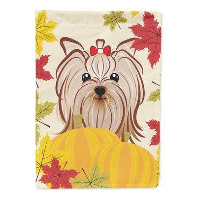 Carolineu0027s Treasures Yorkie Yorkshire Terrier Thanksgiving 2 Sided Garden  Flag