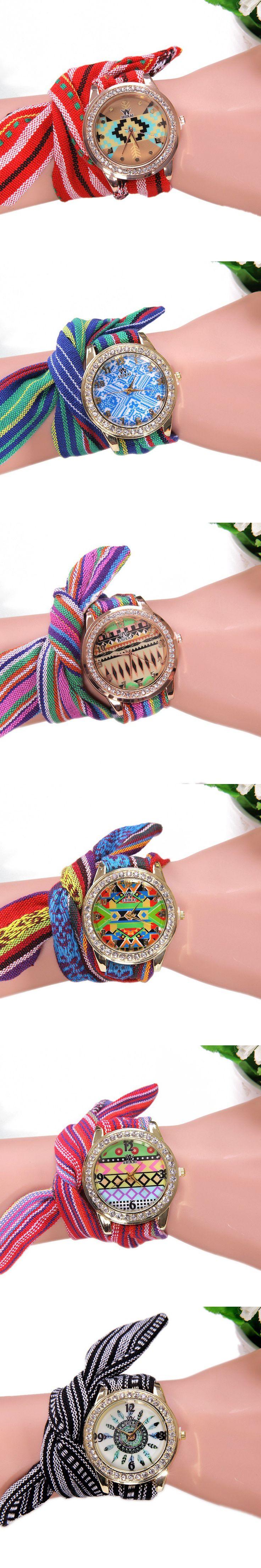 Top Woman Fabric Shikai Flowers Retro Ethnic Dial Wrap Lace wristwatch women Watch Golden Rim Reloj Dama Fashion girl Kids