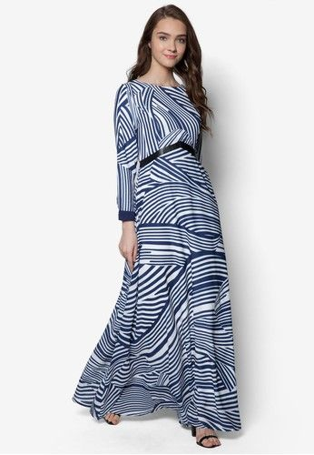 Wave Stripe Dress from Zalia in navy_1
