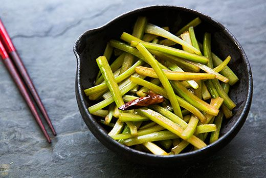 Japanese-style stir-fry, thin batons of celery, stir-fried with chili-infused oil and soy sauce.