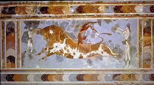 Gioco del toro, ca 1700-1400 a.C. Affresco, altezza 80 cm. Dal Palazzo di Cnosso. Iráklion , Museo Archeologico.