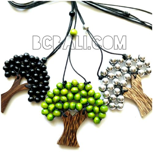 string necklaces pendant wooden palm - string necklaces pendant wooden palm