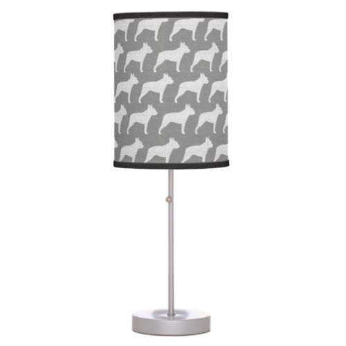 Boston Terrier Silhouettes Pattern Grey Table Lamp