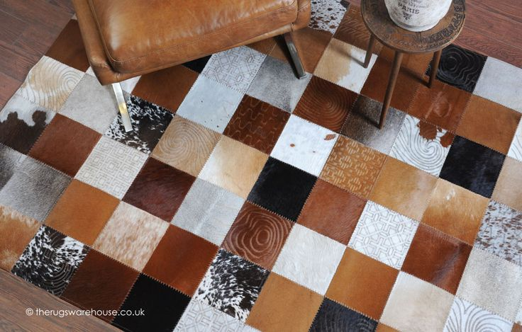 Manzoni Rug, a luxurious multi-coloured and multi textured cowhide leather rug with a patchwork pattern http://www.therugswarehouse.co.uk/manzoni-rug.html #rugs #interiors