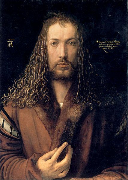 This is a self portrait of Albrect Durer. Durer was a famous artist in the Northern European renaissance. He was born in Germany in 1471. He would engrave pictures into slabs of wood to make great pieces of artwork.