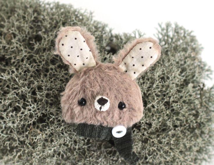 Teddy rabbit brooch hare teddy animal pin badge rabbit teddy brooch ooak teddy rabbit stuffed hare brooch viscouse toy teddy by KodamaLife on Etsy