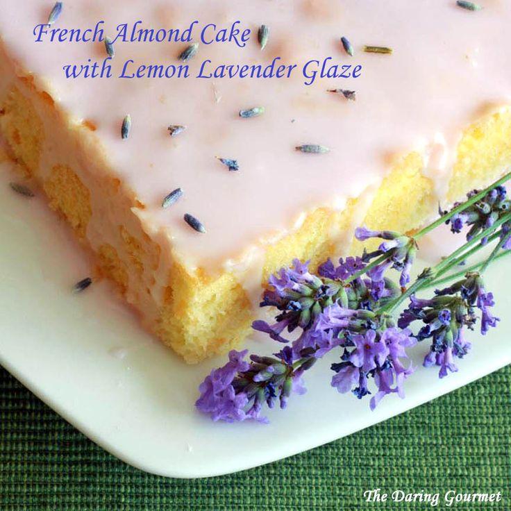 French Almond Cake with Lemon Lavender Glaze.  daringgourmet.com