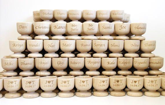 Custom Wedding Favours Personalised Wood Egg Cups Wedding