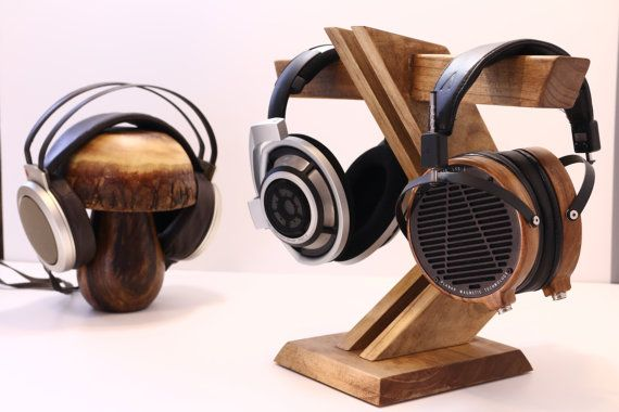 Wood Headphone Stand/ Multiple Headphone by WoodWarmth on Etsy, $89.00