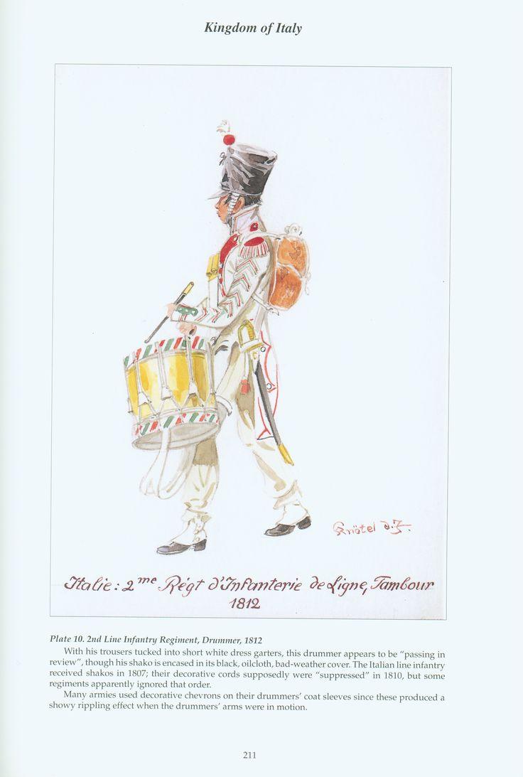 1812, Regno d'Italia, Fanteria, Linea, 2° Reggimento. Tamburo. Kingdom of Italy: Plate 10: 2nd Line Infantry Regiment, Drummer, 1812
