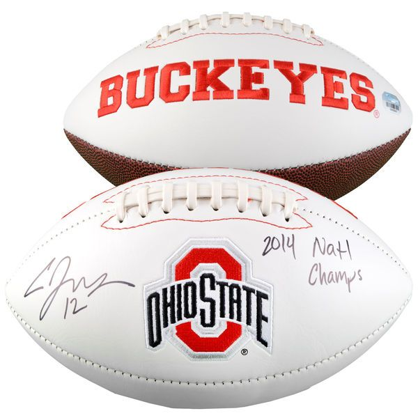 """Cardale Jones Ohio State Buckeyes Fanatics Authentic Autographed White Panel Football with """"14 NATL CHAMPS"""" Inscription - $169.99"""