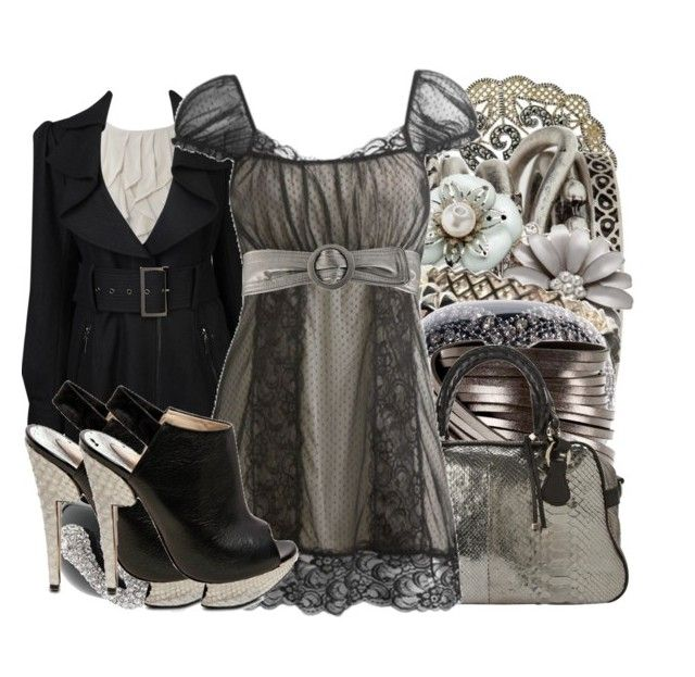 """Shades of Grey."" by hanan ❤ liked on Polyvore featuring Judith Jack, Urban Outfitters, Monsoon, Stephen Webster, Nicholas King, Forever 21, ABS by Allen Schwartz, PENNY LEVI, Pauric Sweeney and Wet Seal"