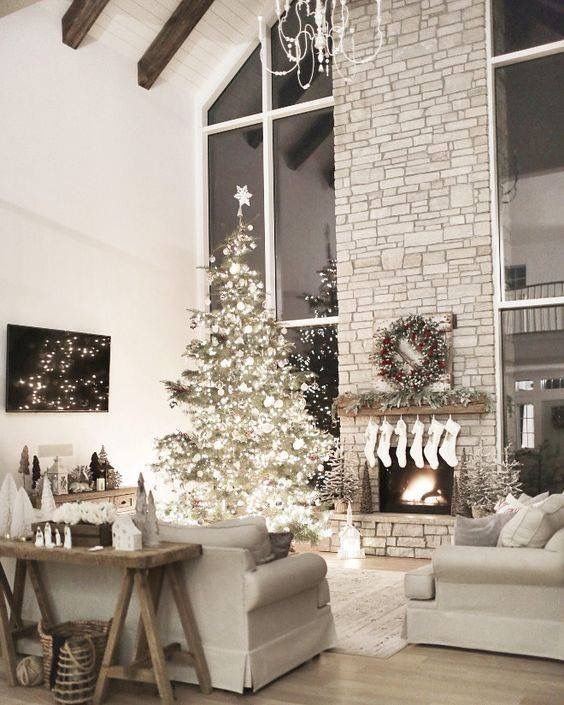 Beautiful Living Rooms At Christmas Lcd Tv Wall Units In Room Tree Holiday Decorating Ideas House Design