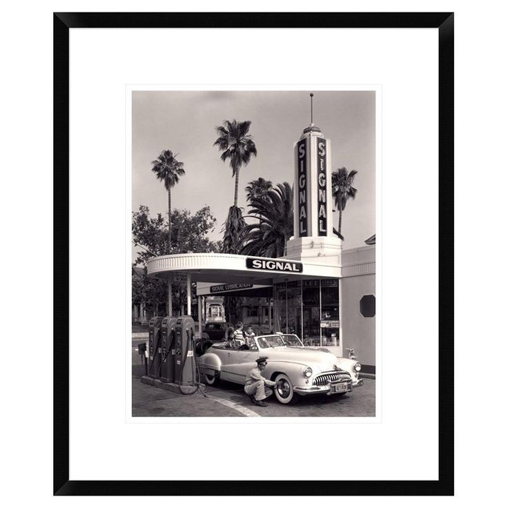 Global Gallery American Gas Station 1950 Framed Wall Art - DPF-375409-1216-266