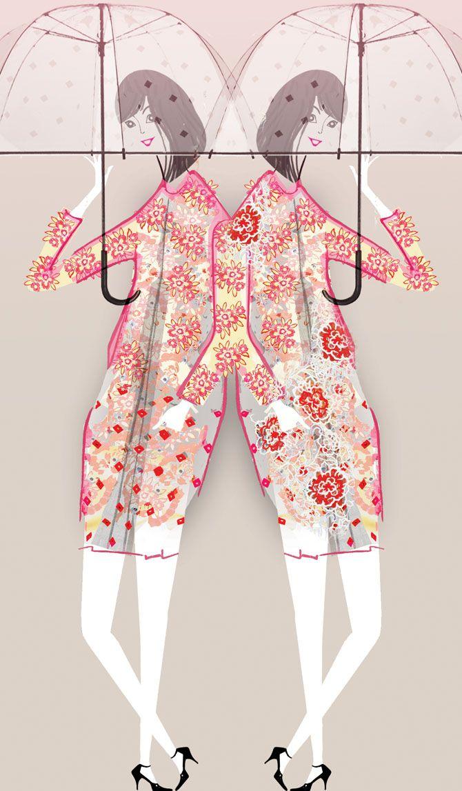 Erdem SS 2013 for Glamour Mag UK - Lesley Barnes Illustration