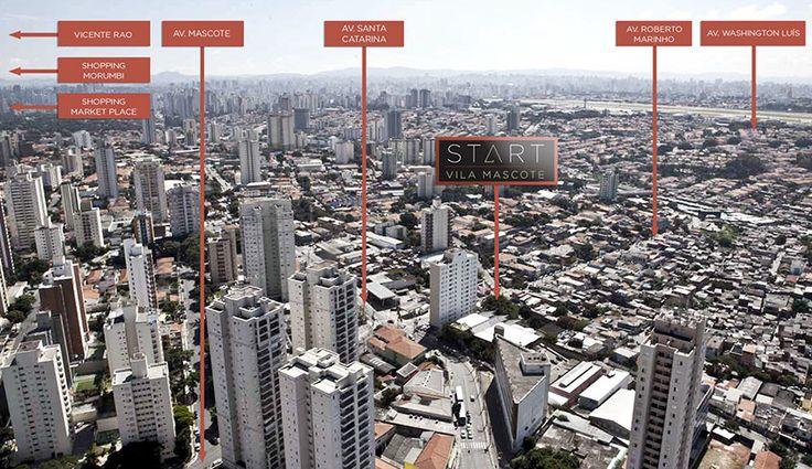 Foto aérea da região do empreendimento Start Vila Mascote