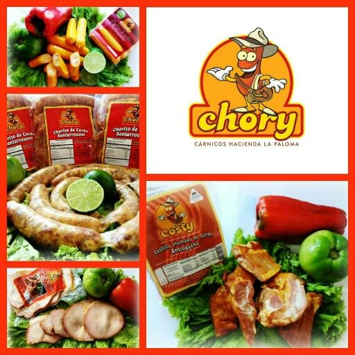 CHORY - Chorizos Santarrosanos  Costilla Ahumada - Cañón de Cerdo Ahumado - Tocineta Ahumada - Morcilla Antioqueño - Chorizo de Pollo - Chorizo Antioqueño