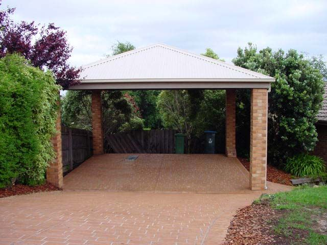 Detached carport with brick columns carports pinterest for Carport garage designs