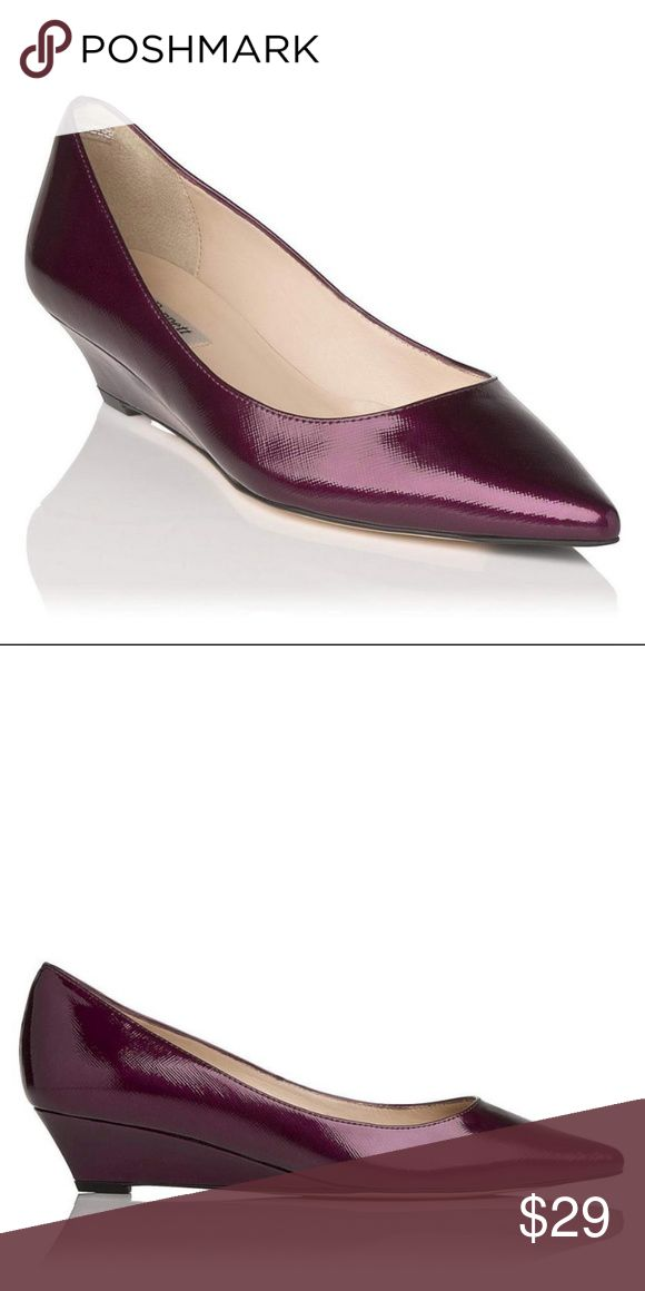 """L.K. Bennett Patent Leather Kitten Wedge Pointy Size 38/8. Perla: a pointed court shoe with a petite wedge that gives a little lift without sacrificing on comfort. Crafted from gorgeous patent Saffiano leather. Purple. In great shape except toes need a touch up. One is more than the other. Priced accordingly. 1.5"""" heel. LK Bennett Shoes"""