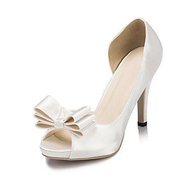 Sandálias ( Preto/Azul/Roxo/Vermelho/Marfim/Branco ) - MULHERES Saltos Altos/Peep Toe/Plataforma - Salto Alto - Cetim – USD $ 34.99