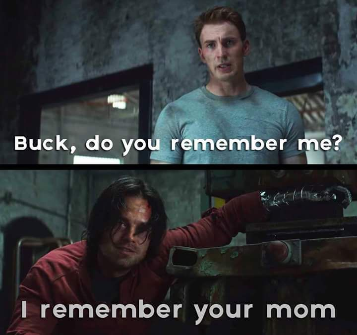The Captain America: Civil War trailer is actually an elaborate Yo Momma joke told by the Winter Soldier. (Given the likely cause of Maria Stark's death, Bucky probably shouldn't try anything similar with Iron Man.)
