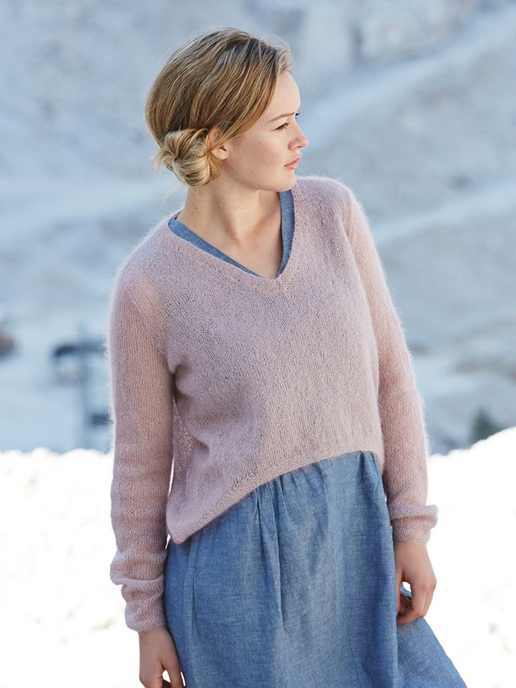 Arum - Knit this women's stocking stitch cropped sweater from the Simple Shapes Kidsilk Haze Collection, a design by Marie Wallin using the gorgeous yarn Kidsilk Haze (mohair and silk). With V neck, longer back hem and full length set-in sleeves,  this knitting pattern has a two star difficulty rating.