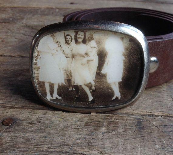 repurposed vintage dancing ladies photo belt buckle by joeyfivecents