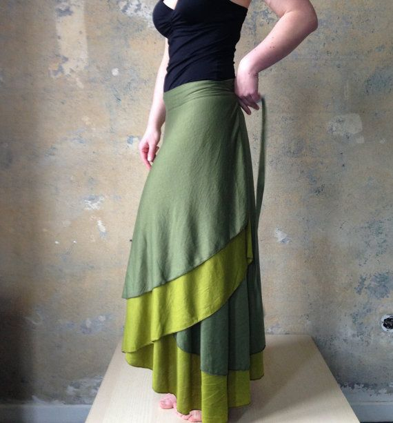 Maxi Wrap Jersey Reversible Skirt Brown and Petrol by Coisas4u