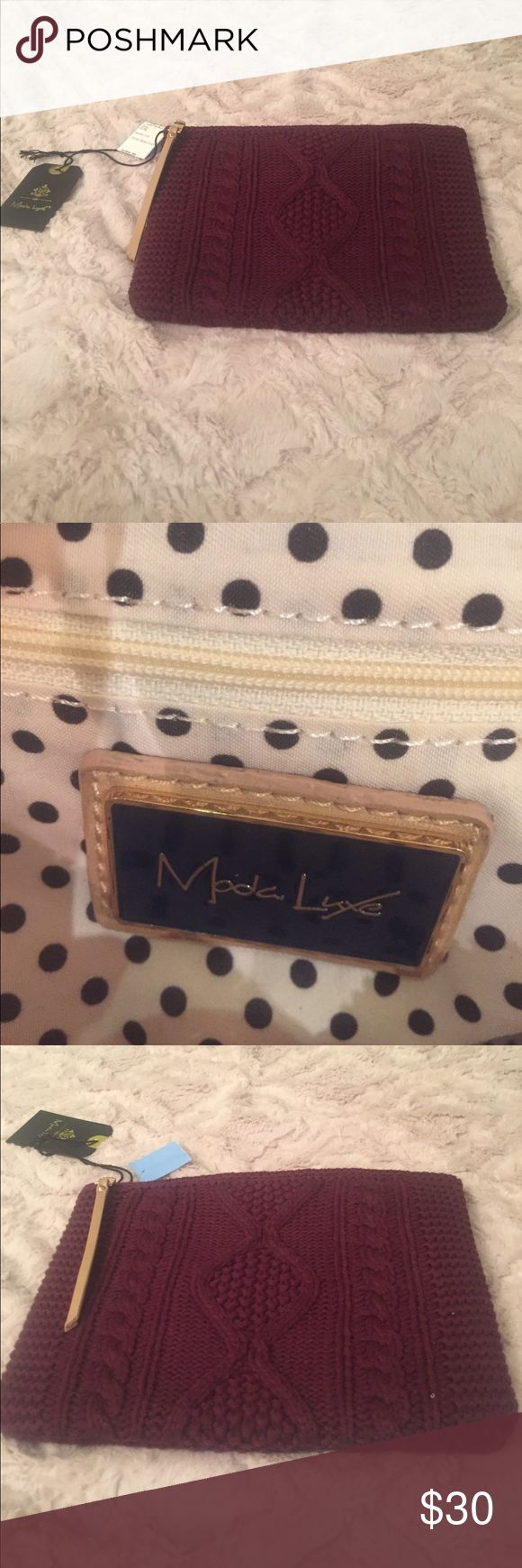 NWT Wine color, Fall like cable knit clutch bag Moda Luxe clutch has a Zipper on top with  a nude colored strap adding more pizzazz, polka dot interior with two pockets and a zipper Bags Clutches & Wristlets