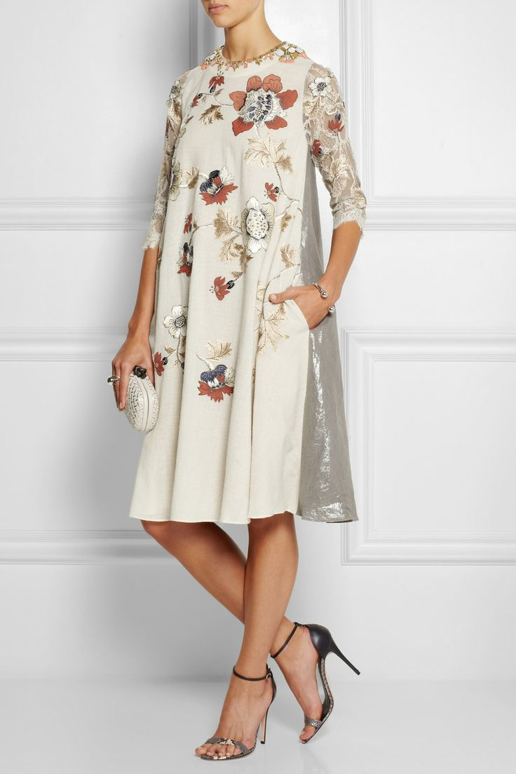 Biyan | Liana embellished embroidered voile, lace and lamé dress | NET-A-PORTER.COM