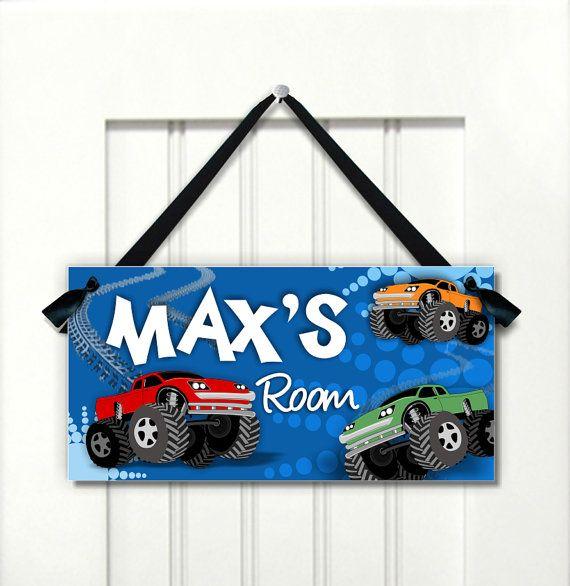 monster truck sign sign for boys room cave  blue red by kasefazem, $16.99