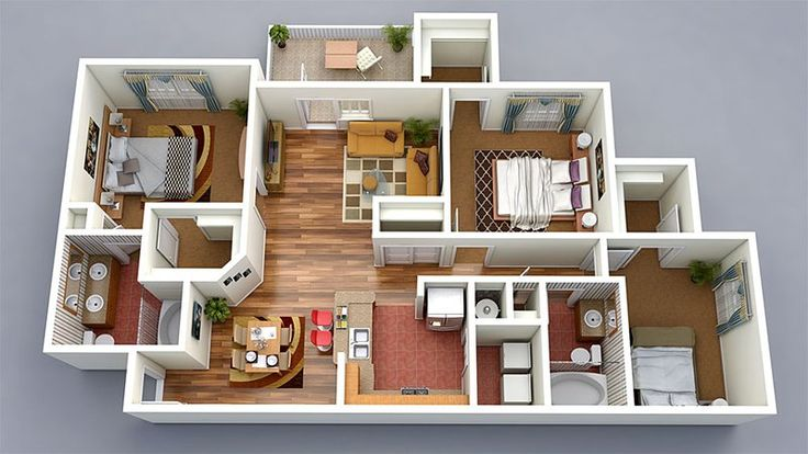 20 Designs Ideas for 3D Apartment or One-Storey Three Bedroom Floor Plans
