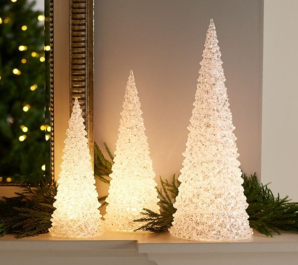 Set Of 3 Illuminated Acrylic Glitter Trees By Valerie Qvc Com Christmas Decorations Valerie Parr Hill Tree