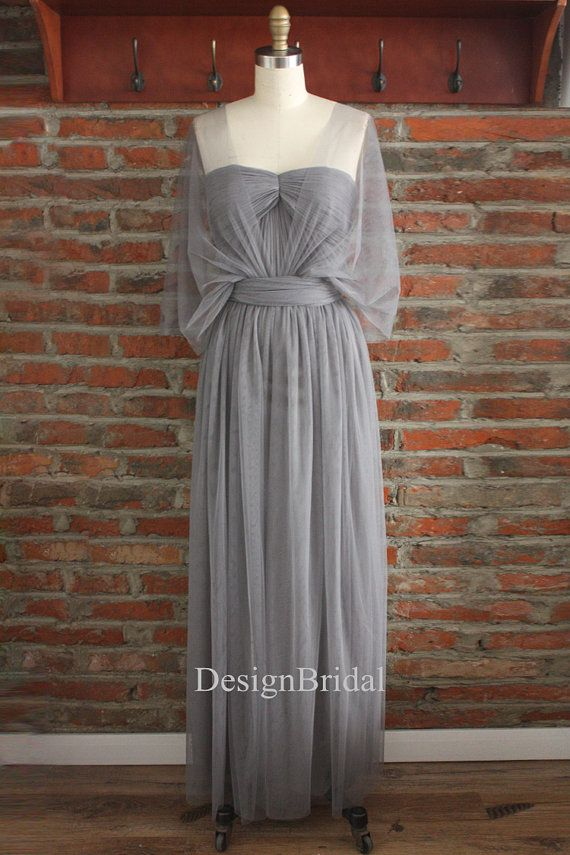 Grey Bridesmaid DressWrap DressesInfinity Long by DesignBridal