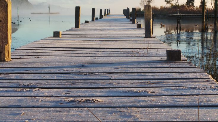 Frosty wharf at Motuoapa, New Zealand June 2014