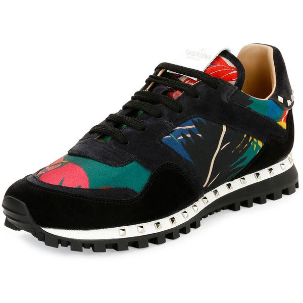 Valentino Tropical Nylon & Suede Trainer Sneaker ($795) ❤ liked on Polyvore featuring men's fashion, men's shoes, men's sneakers, men's shoes sneakers, multi, valentino mens sneakers, valentino mens shoes, mens suede shoes, mens sneakers and mens suede lace up shoes
