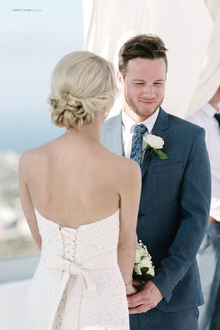 Luv Bride Christine wears the stunning Brighton gown by Mia Solano in her Santorini wedding.  www.luvbridal.com.au